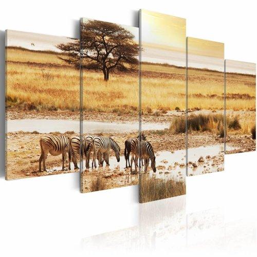 Schilderij - Zebra's op de Savanne, Afrika, 5luik