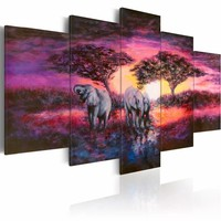 Schilderij - Savanne, Olifanten, Paars, 5luik