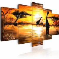 Canvas Schilderij - Giraffen bij drinkplaats, Afrika, Geel, 2 Maten, 5luik