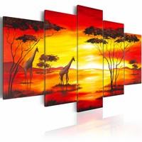 Schilderij - Giraffen met zonsondergang, Afrika, Oranje/Geel,5luik, print op canvas