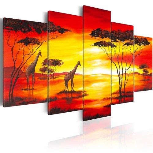 Schilderij - Giraffen op de achtergrond met zonsondergang, Afrika, Oranje/Geel, 5luik
