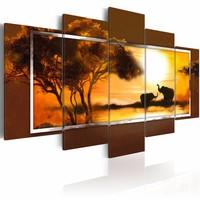 Canvas Schilderij - Bijeenkomst op de savanne, Afrika, Bruin/Geel, 2 Maten, 5luik