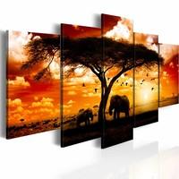 Schilderij - Zwerm vogels over de savanne, Afrika, Oranje, 2 Maten, 5luik