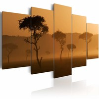 Schilderij - Mist over de Savanne, Afrika, 5luik