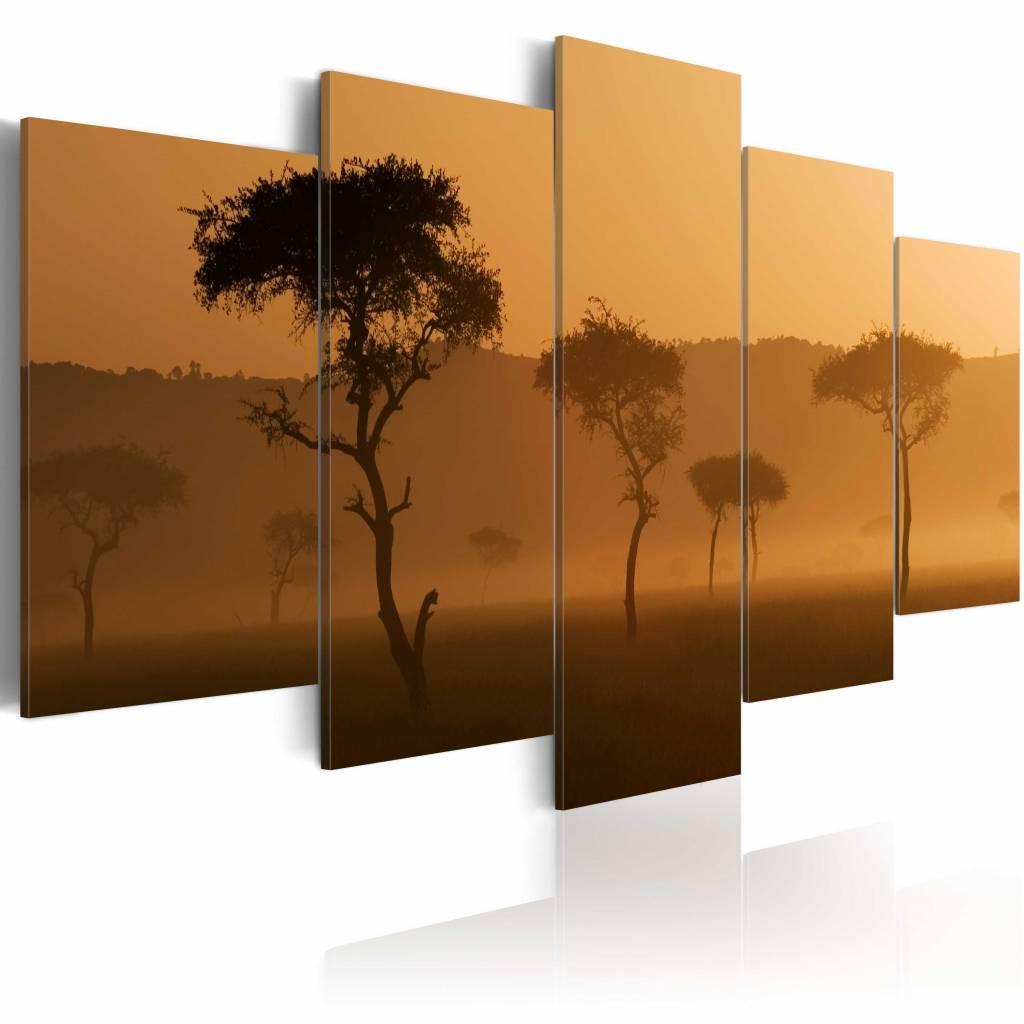 Schilderij - Mist over de Savanne, Afrika, 5luik , 2 maten , Wanddecoratie , Beige bruin