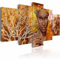 Schilderij - Verhalen uit Afrika, Oranje, 5luik , 2 maten , Wanddecoratie