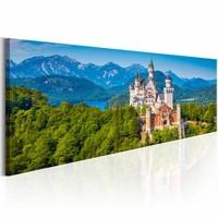 Schilderij - Magische plaatsen : Neuschwanstein Kasteel , groen blauw