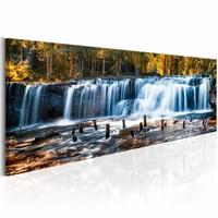 Canvas Schilderij - Waterval in de herfst 150X50 , groen blauw , 1 luik