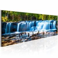 Schilderij - Prachtige waterval 150X50 , groen blauw , 1 luik