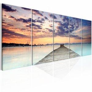 Canvas Schilderij - Pier in de Caraïben - 5 luik , oranje blauw , 2 maten