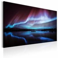 Schilderij - Nacht lichten , golven , rood blauw , 1 luik