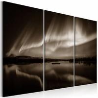 Schilderij - Lichten in de lucht - 3 luik , bruin wit , 2 maten
