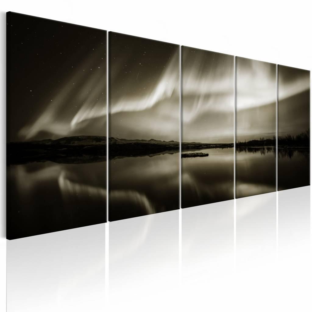 Schilderij - Meer in Sepia - 5 luik , golven