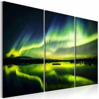 Schilderij - Noorderlicht - 3 luik , groen blauw