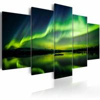 Schilderij - Noorderlicht - 5 luik , groen blauw