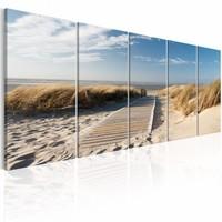 Schilderij - Vakantie aan zee , strand , blauw beige , 5 luik