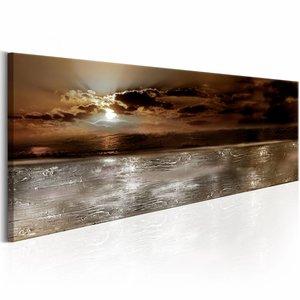 Canvas Schilderij - Mysterieuze oceaan 150X50 , bruin grijs , 1 luik