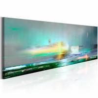 Canvas Schilderij - Azuren oceaan 150X50 , groen , 1 luik