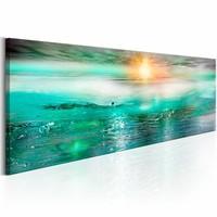 Canvas Schilderij - Saffieren zee 150X50 , groen , 1 luik