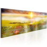 Schilderij - Zonnige zee 150X50 , geel , groen , 1 luik