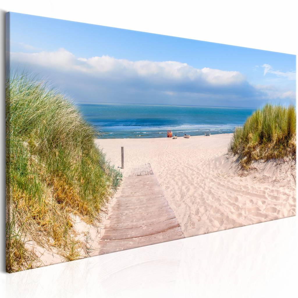 Schilderij - Oceaan dromen , blauw beige , strand