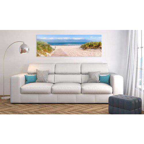 Canvas Schilderij - Oceaan dromen 150X50 , blauw beige , strand , 1 luik
