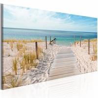 Schilderij - Geluiden van de zee , strand, 2 maten, panorama