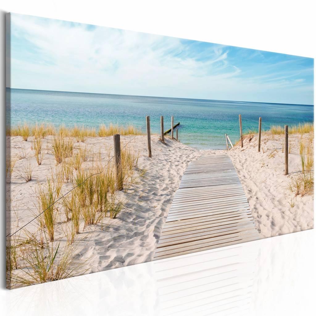 Schilderij - Geluiden van de zee , strand, 2 maten, panorama -  1 luik - 150x50 cm