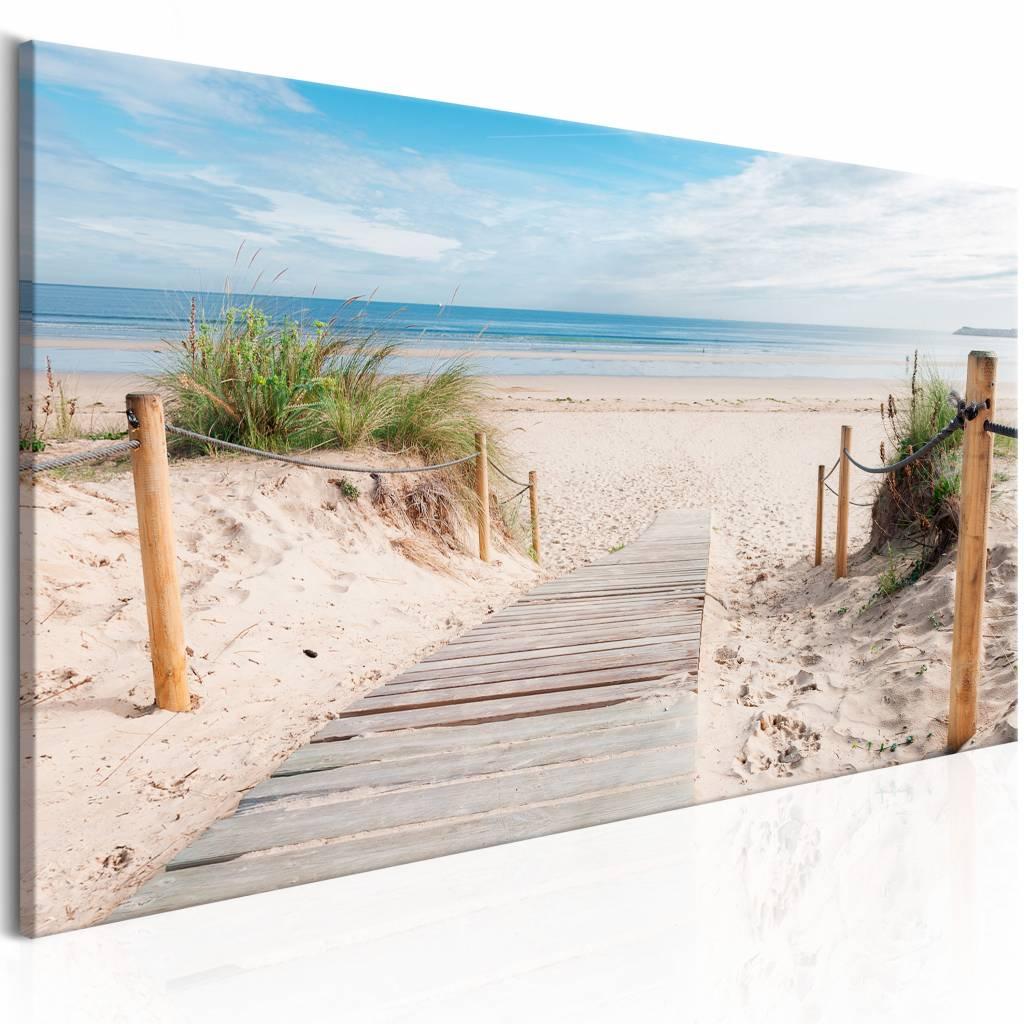 Schilderij - Charmante strand , zee -  1 luik - 135x45 cm