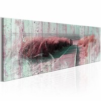 Schilderij - Zomer dans 150X50 , blauw roze , hout look , 1 luik