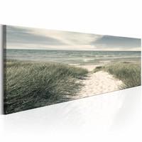 Canvas Schilderij - Geheimen  van de Zee 150X50 , groen blauw , 1 luik