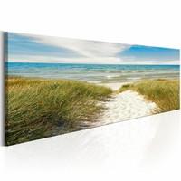 Canvas Schilderij - Troostende Zee 150X50 , blauw groen , 1 luik