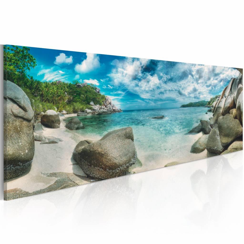 Schilderij - Turquoise Paradijs , groen wit , wanddecoratie , premium print op canvas