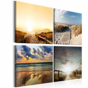 Schilderij - Naar het strand, 4 luik, 3 maten , beige blauw