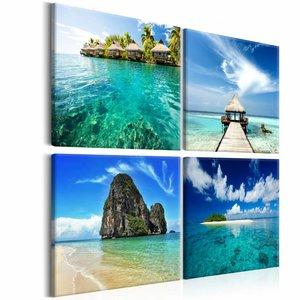 Schilderij - Vier keer Paradijs, Blauw/Beige, 4luik