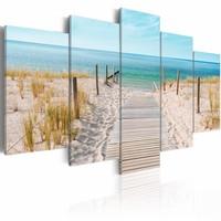Schilderij - Naar de Noordzee, 5luik , beige blauw ,  wanddecoratie , premium print op canvas