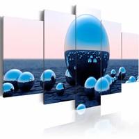 Schilderij - Ballen op het Water, Blauw, 5luik