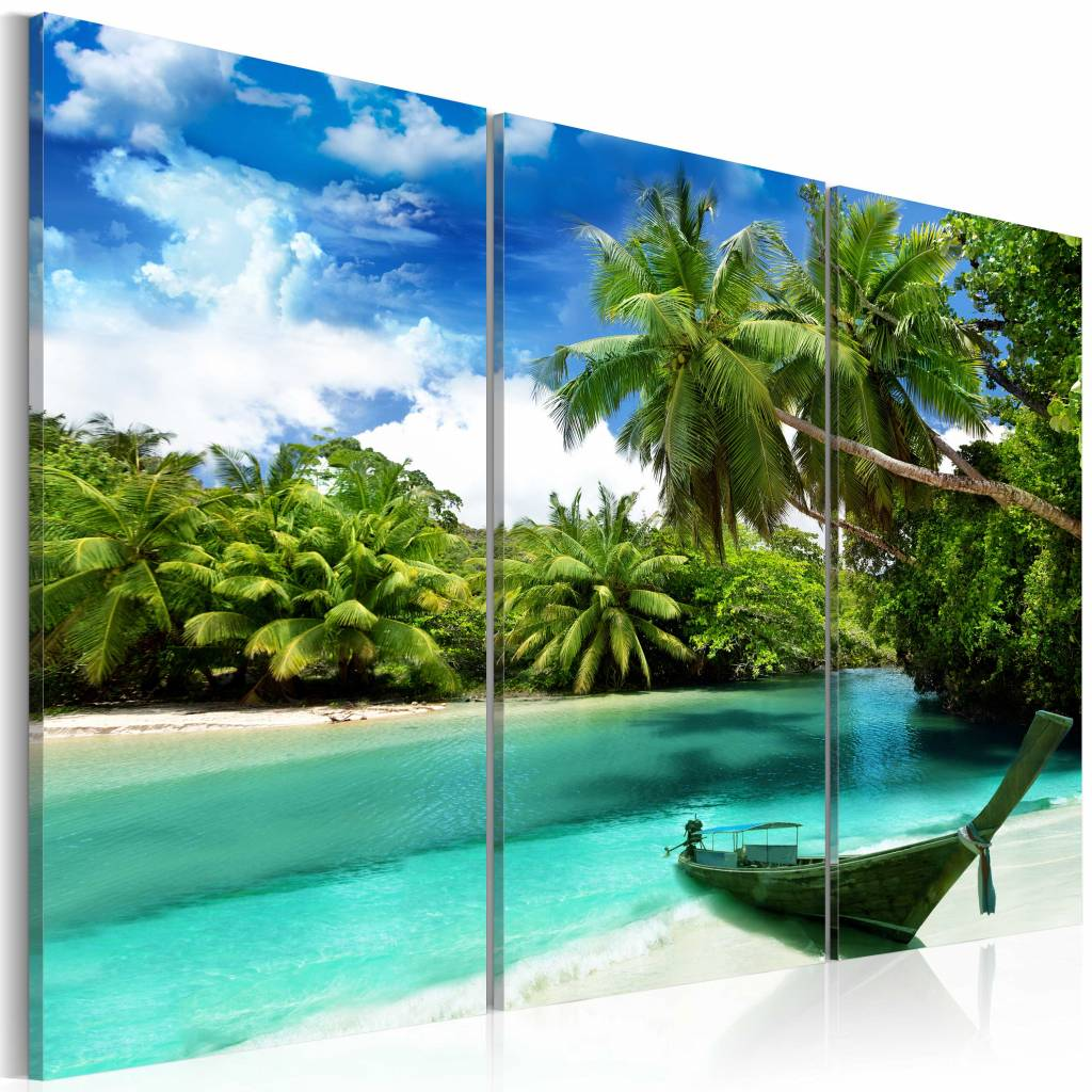 Schilderij - Droomeiland, 3luik , groen blauw , wanddecoratie , premium print op canvas
