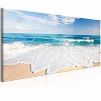 Schilderij - Strand op  Captiva Island 150X50 , wit blauw , 1 luik