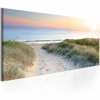 Canvas Schilderij - Beautiful path , zee strand , blauw beige , 1 luik , 150x50