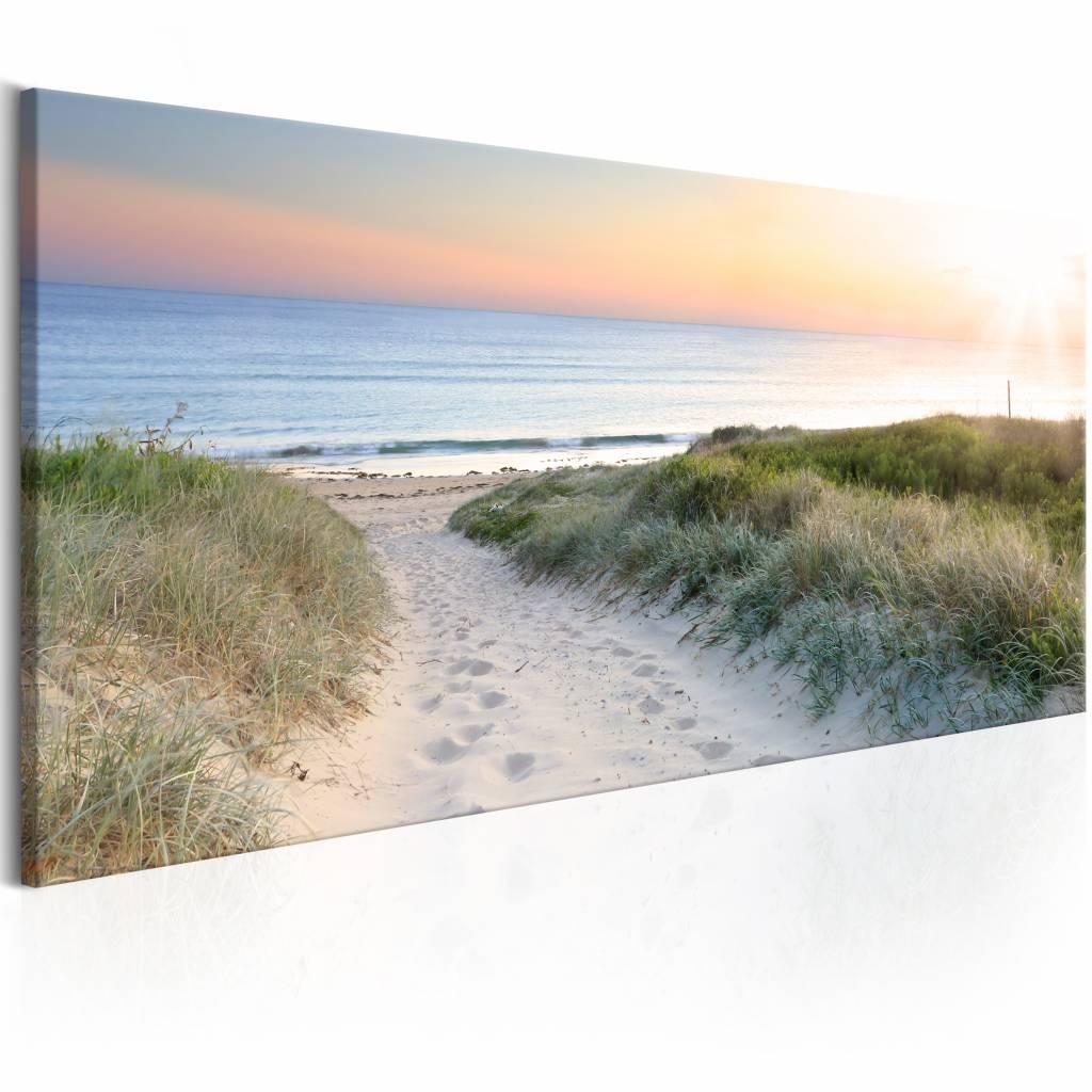 Schilderij - Beautiful path , zee strand , blauw beige