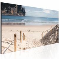 Schilderij - Pad naar het strand , blauw beige , 1 luik