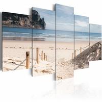 Schilderij - Wandeling langs de Zee, 5luik , beige blauw , wanddecoratie , premium print op canvas