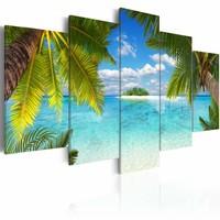 Schilderij - Paradijs Eiland, Blauw/Groen, 5luik , wanddecoratie , premium print op canvas
