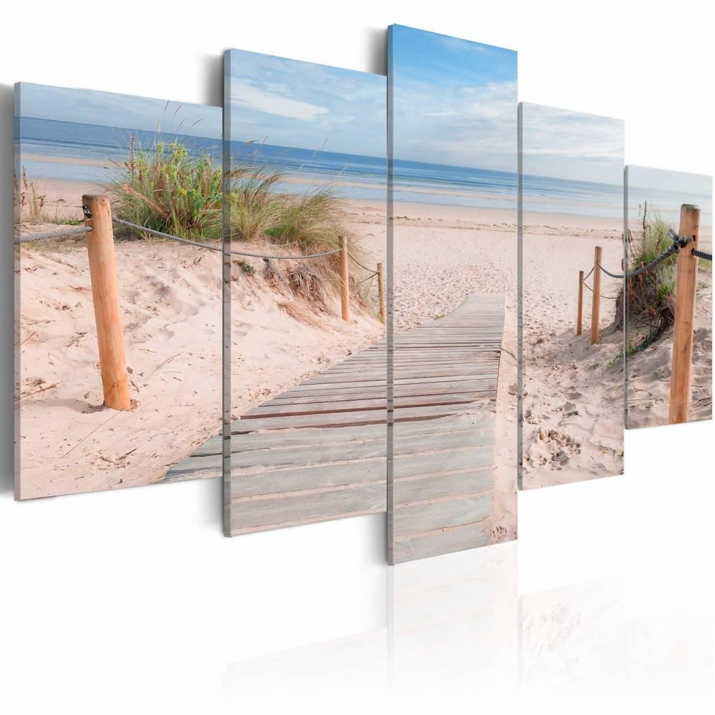 Schilderij - Noordzee, 5luik , blauw beige , wanddecoratie , premium print op canvas