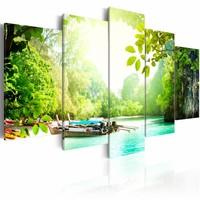 Schilderij - Het Meer, 5luik , groen blauw , wanddecoratie , premium print op canvas