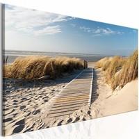 Schilderij - Onbewaakt strand , beige blauw