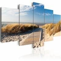 Schilderij - Noordzee, 5luik , beige blauw , wanddecoratie , premium print op canvas
