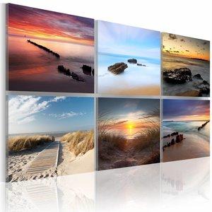 Schilderij - De kust op verschillende tijden van de dag, 6 luik, 2 maten , blauw beige