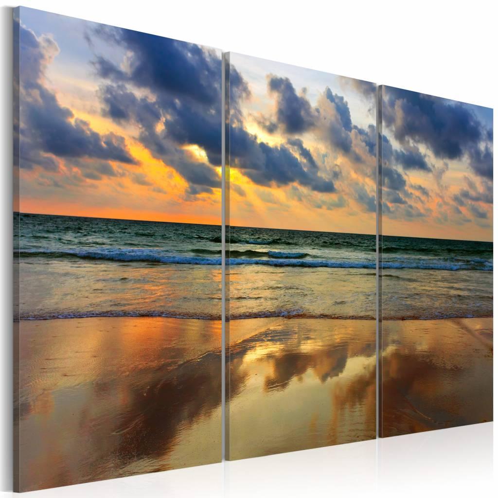 Schilderij - Zonsondergang Noordzee, 3luik , oranje blauw , wanddecoratie , premium print op canvas
